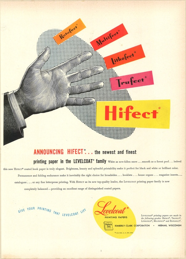 Fortune Magazine, September 1949. Levelcoat Printing Papers by the Kimberly-Clark Corporation.