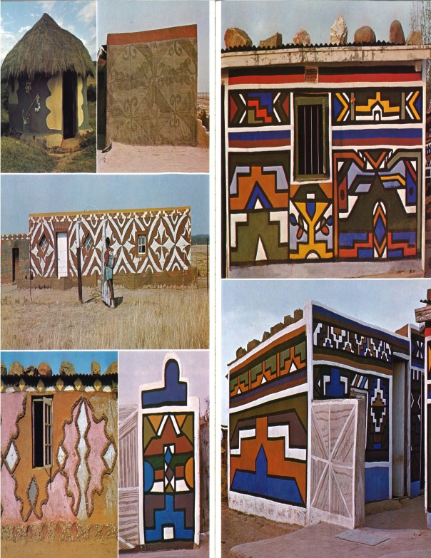 "African Arts, Volume X, Issue Number 02. January 1977. Right: ""Flower composition between door and window painted to represent formalized leaves. Xhosa, near Assegai Bush, Cape Province."" Left: ""Litema motif. Sotho, near Kroonstad, orange free state."