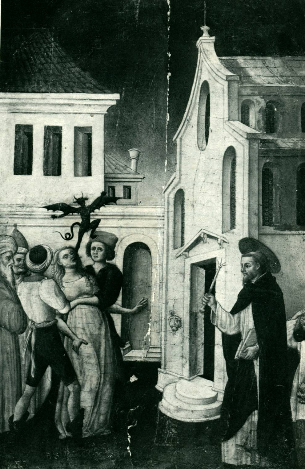 angels battling a band of devils for possession of the Castle of Faith