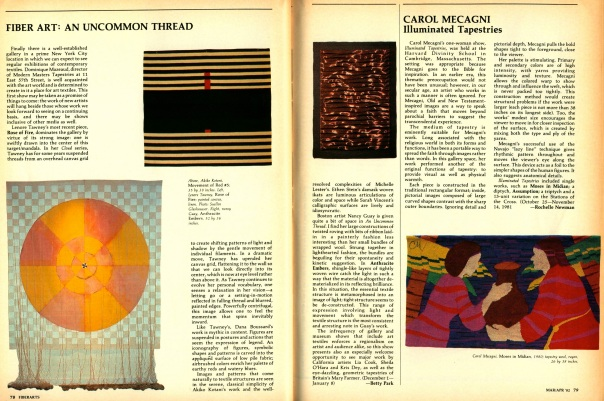 FiberArts. March/April 1982.