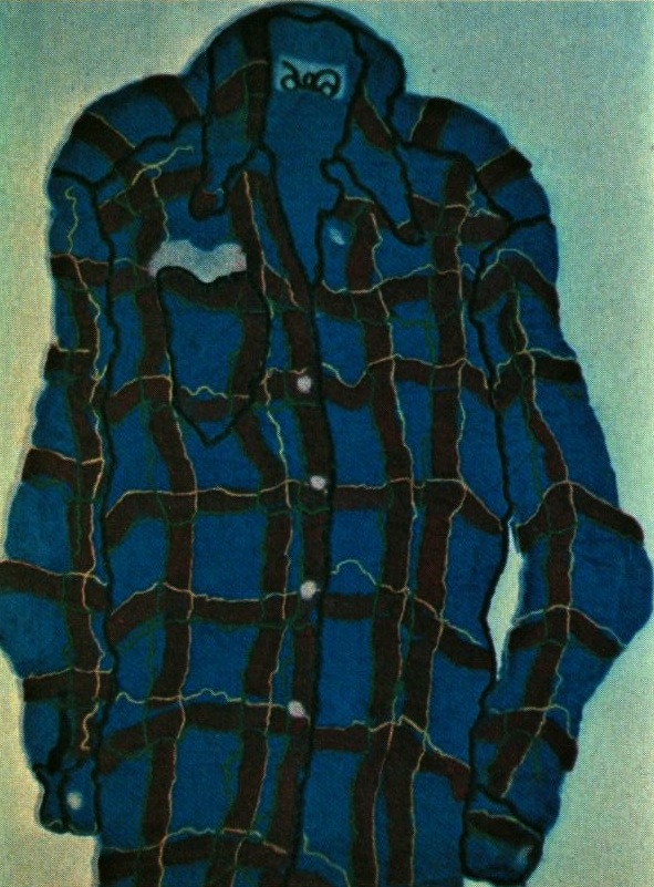 Plaid Shirt by Deborah Kaufman, Felted Wool, 26 x 36 ""