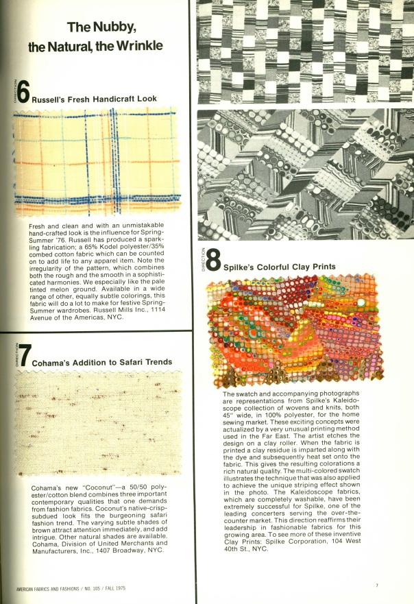 American Fabrics, Number 105. Fall 1975.